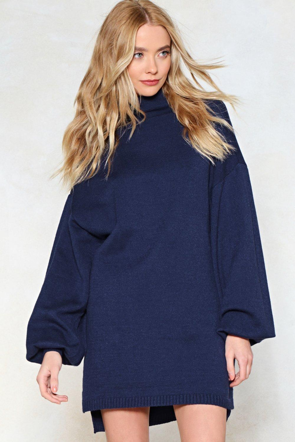 80d7aead134 Womens Blue Knit Comes Naturally Sweater Dress