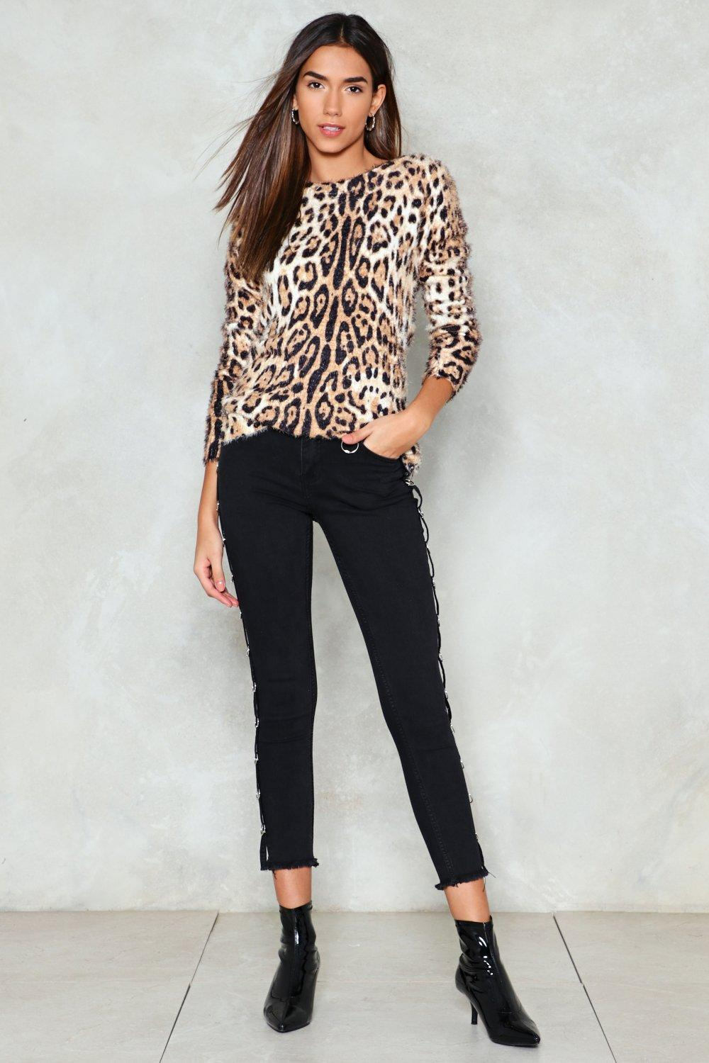 7f637a84f7f Womens Tan Roar Leopard Sweater.