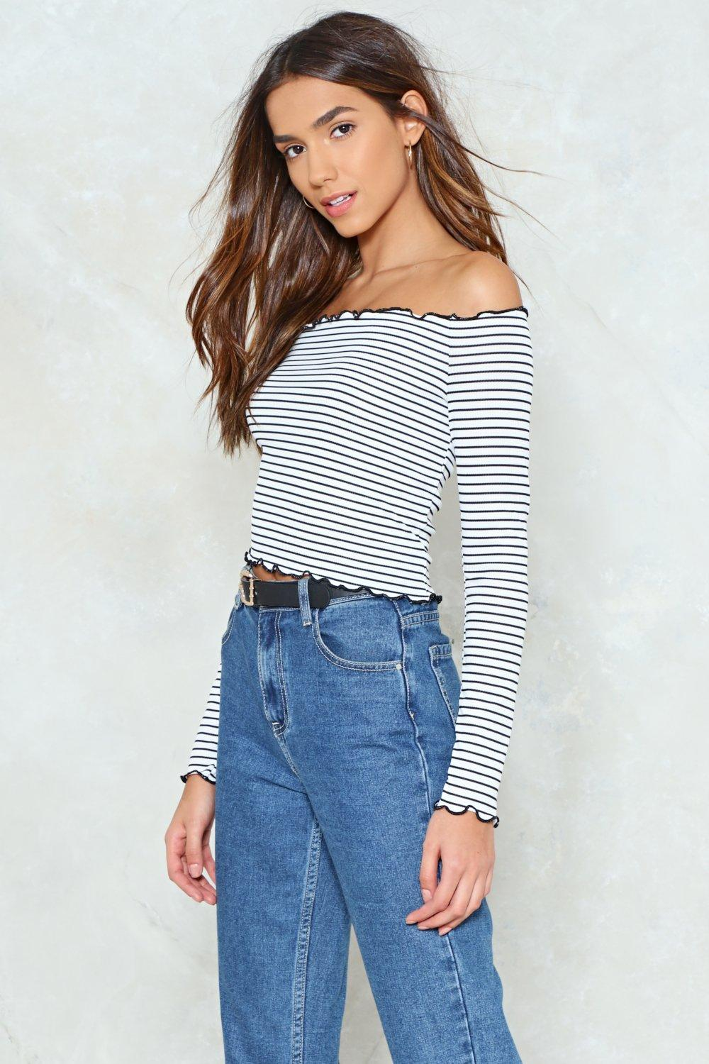 df4af12e4702e Stripe Down Hun Off-the-Shoulder Top. Hover to zoom