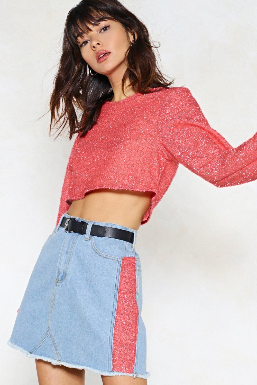 1319cb5cf Textured Side Stripe Denim Mini Skirt | Shop Clothes at Nasty Gal!