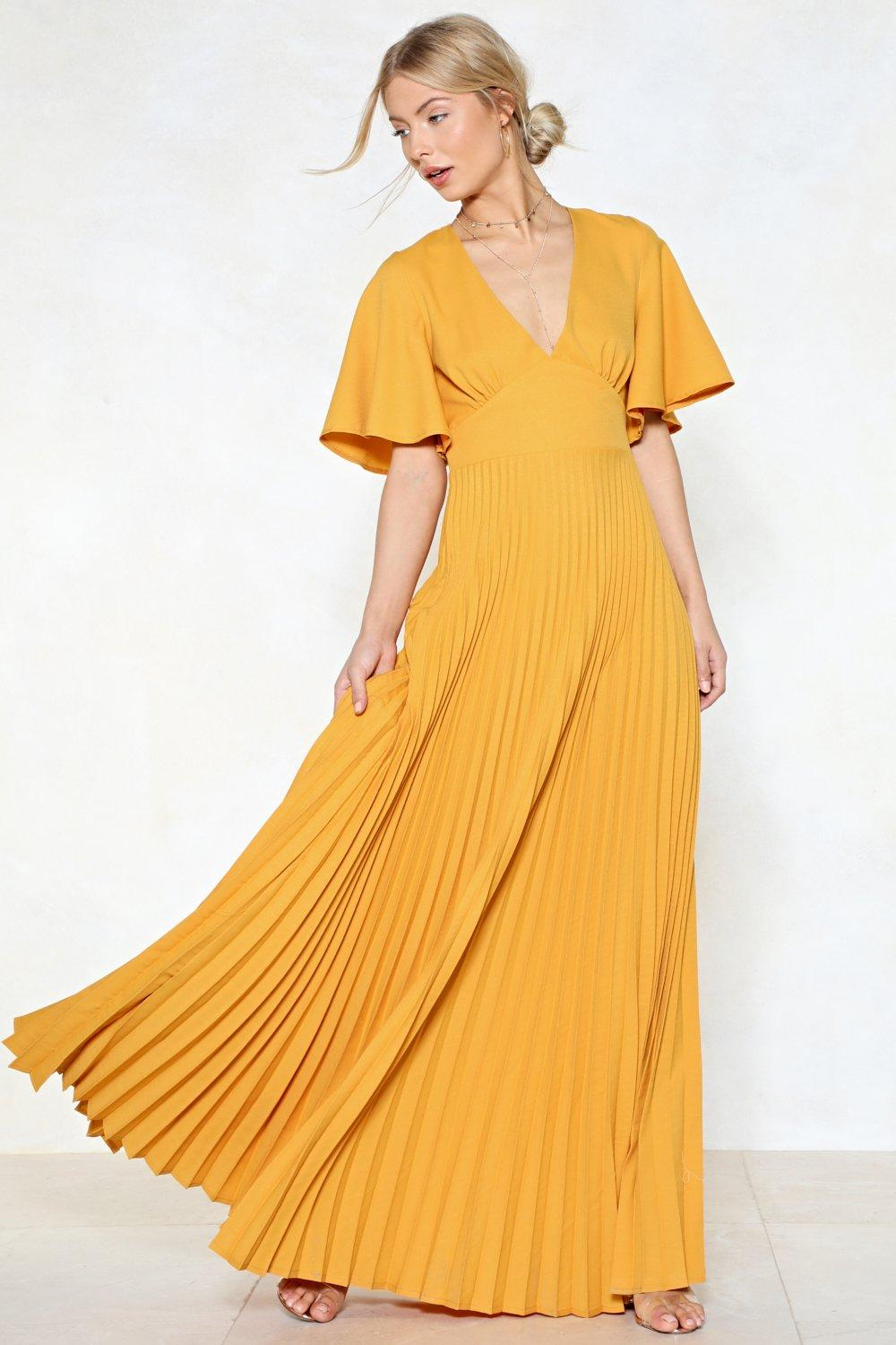 1582c728fd Womens Gold Pleat It Hun Maxi Dress