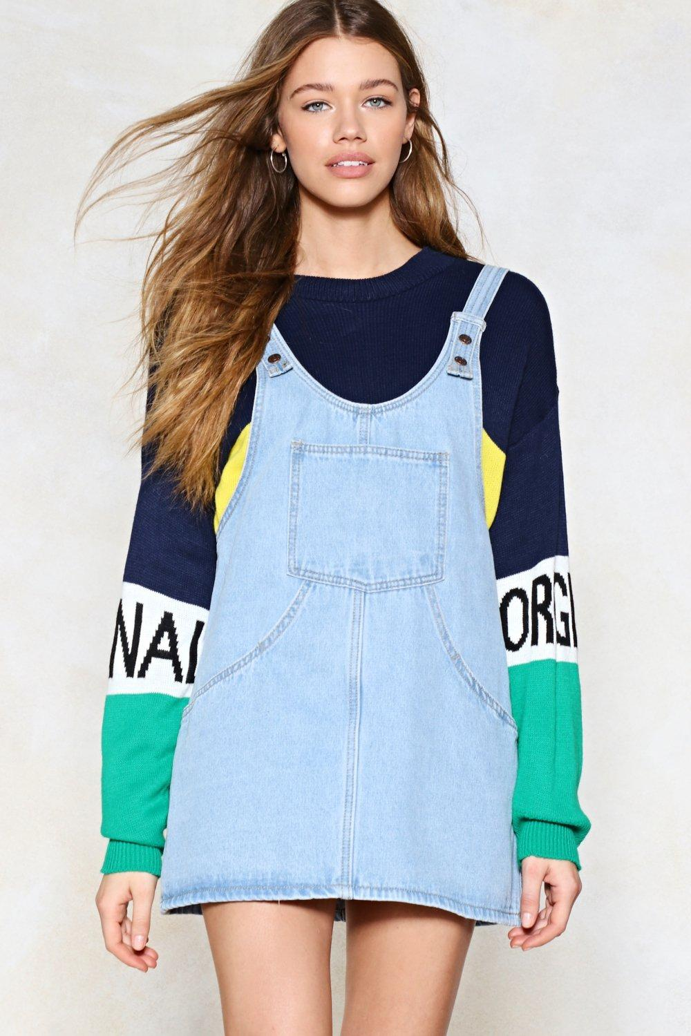 f83bc2fcf2e Day Tripper Denim Pinafore Dress
