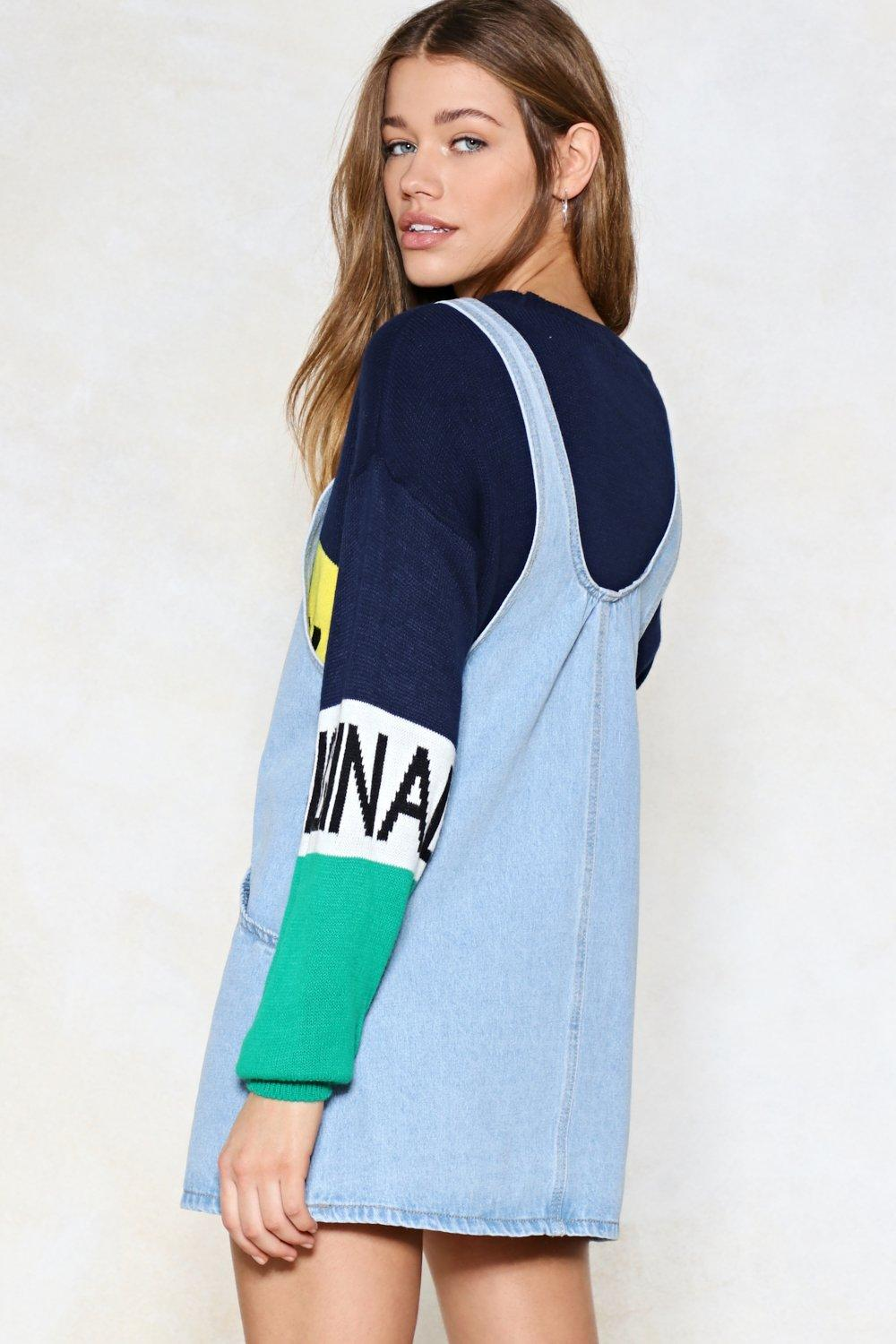 22720185b14 Day Tripper Denim Pinafore Dress. Hover to zoom