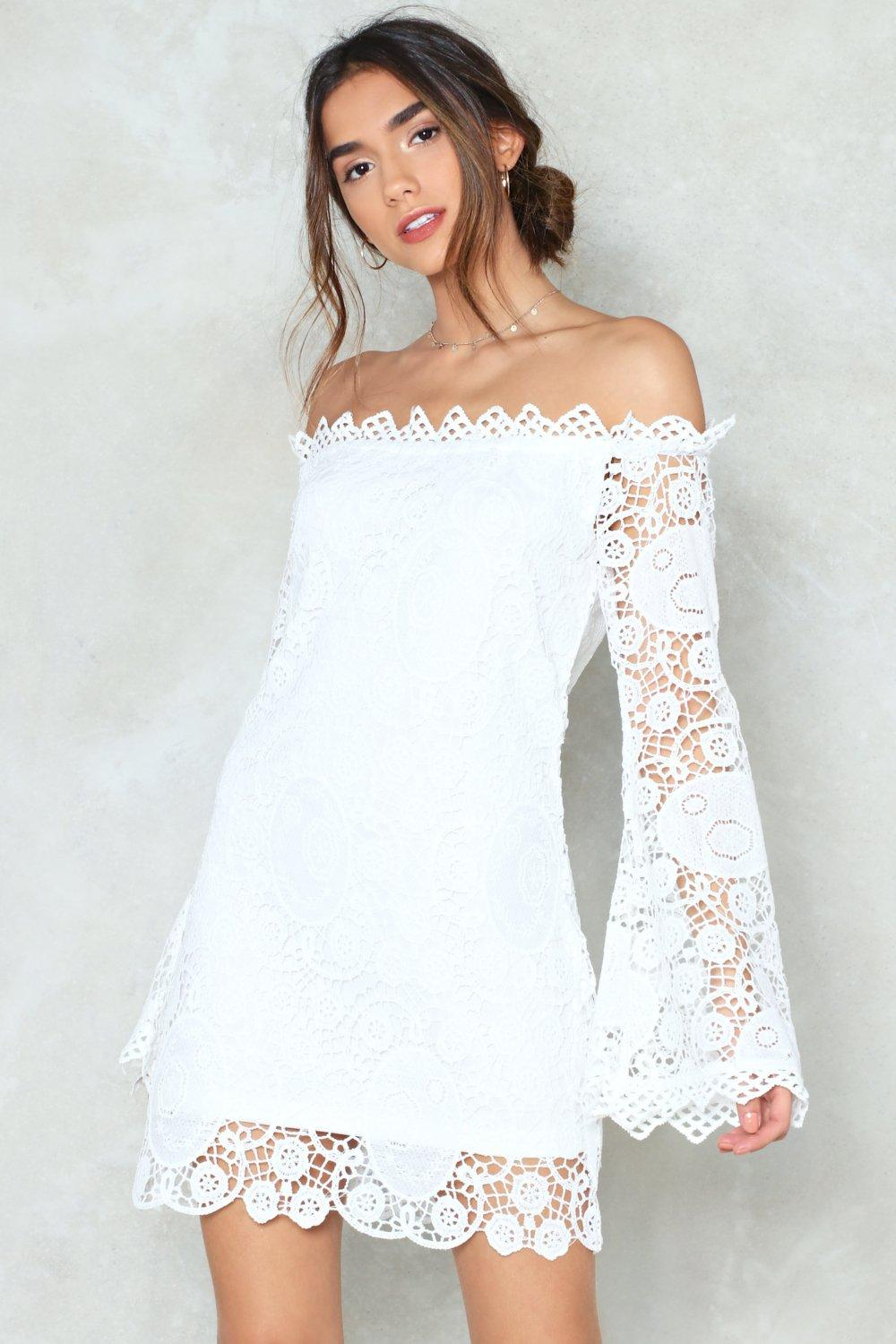 cf6985b8c703 Are You Crochet Hun Off-the-Shoulder Dress | Shop Clothes at Nasty Gal!