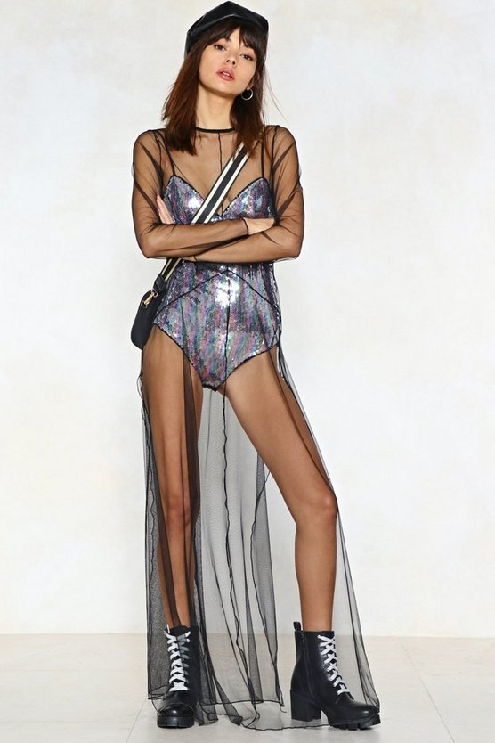 Sequin The After Party Mesh Dress by Nasty Gal