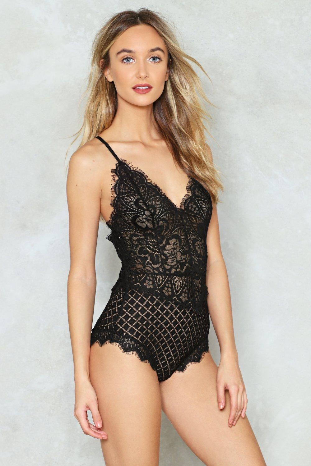 d48097da97 Cross Back Lace All In One Bodysuit