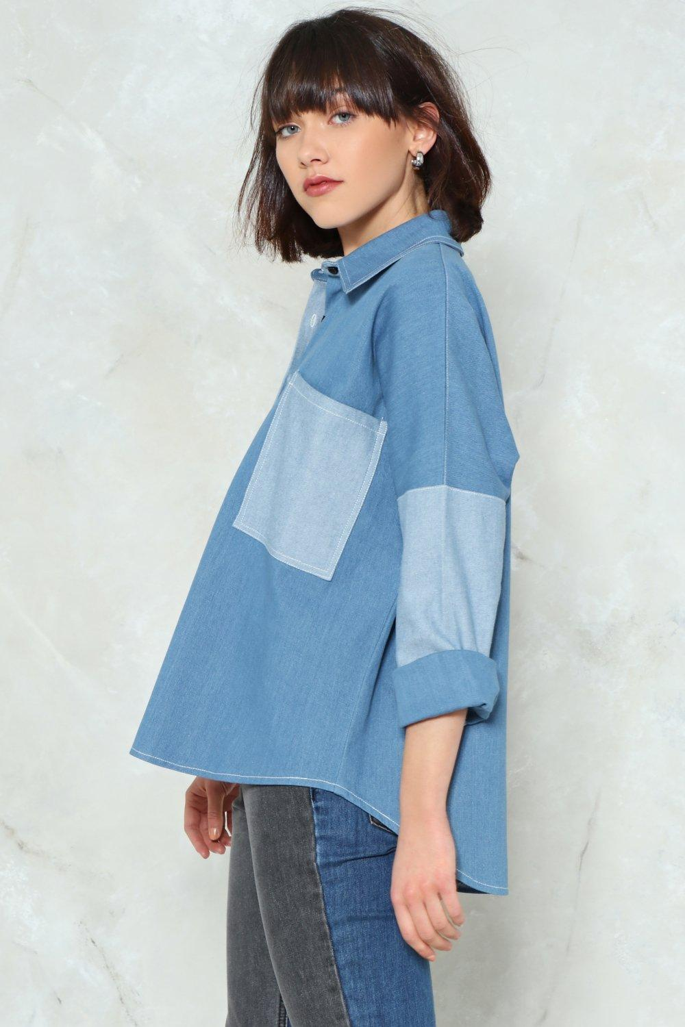8238e732 A Blast From the Contrast Denim Shirt | Shop Clothes at Nasty Gal!