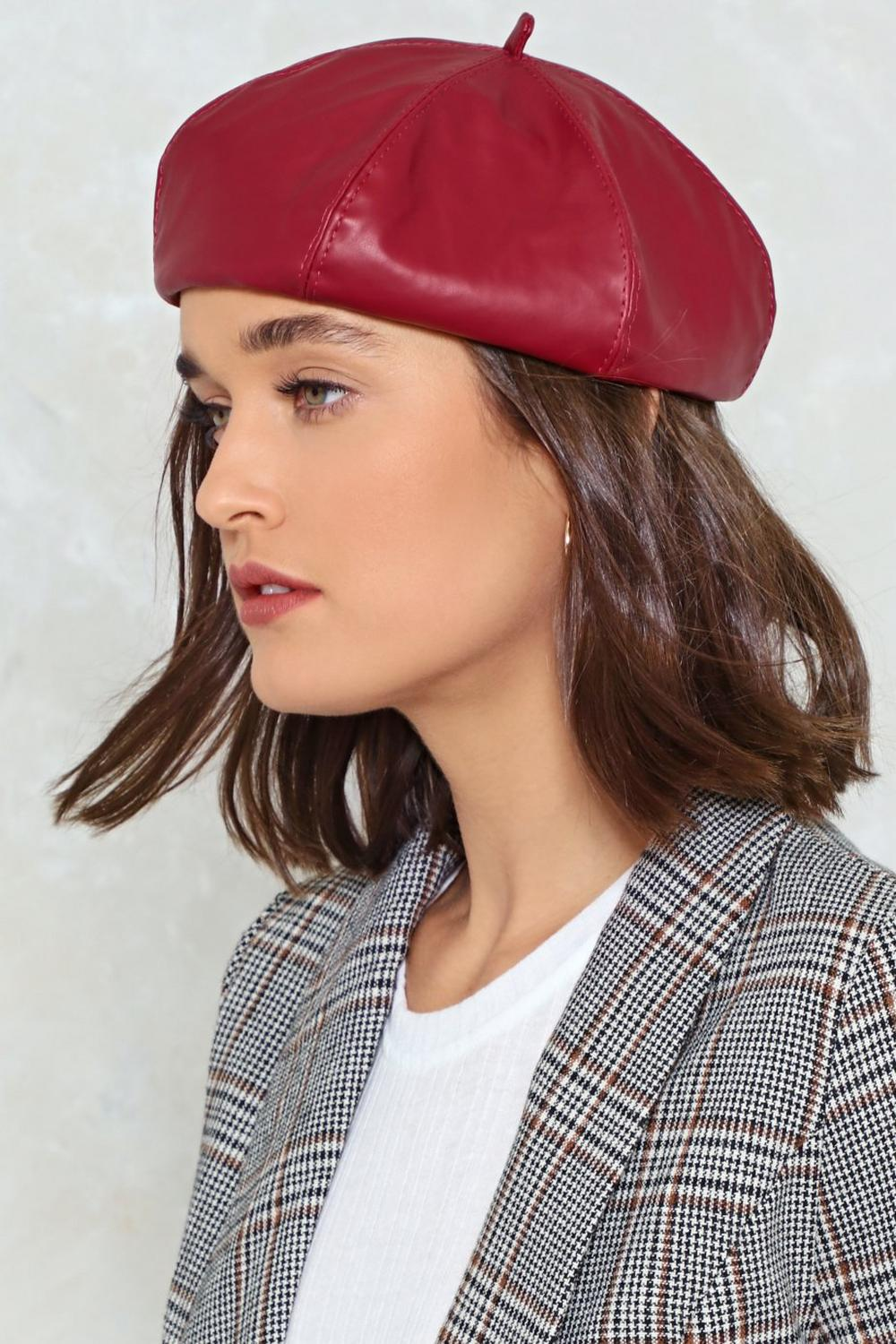 Beret Nice Indeed Faux Leather Beret  f67f4b87ded