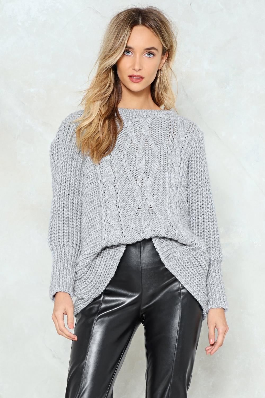 1c217f8015 Womens Grey Rumor Has Knit Oversized Sweater