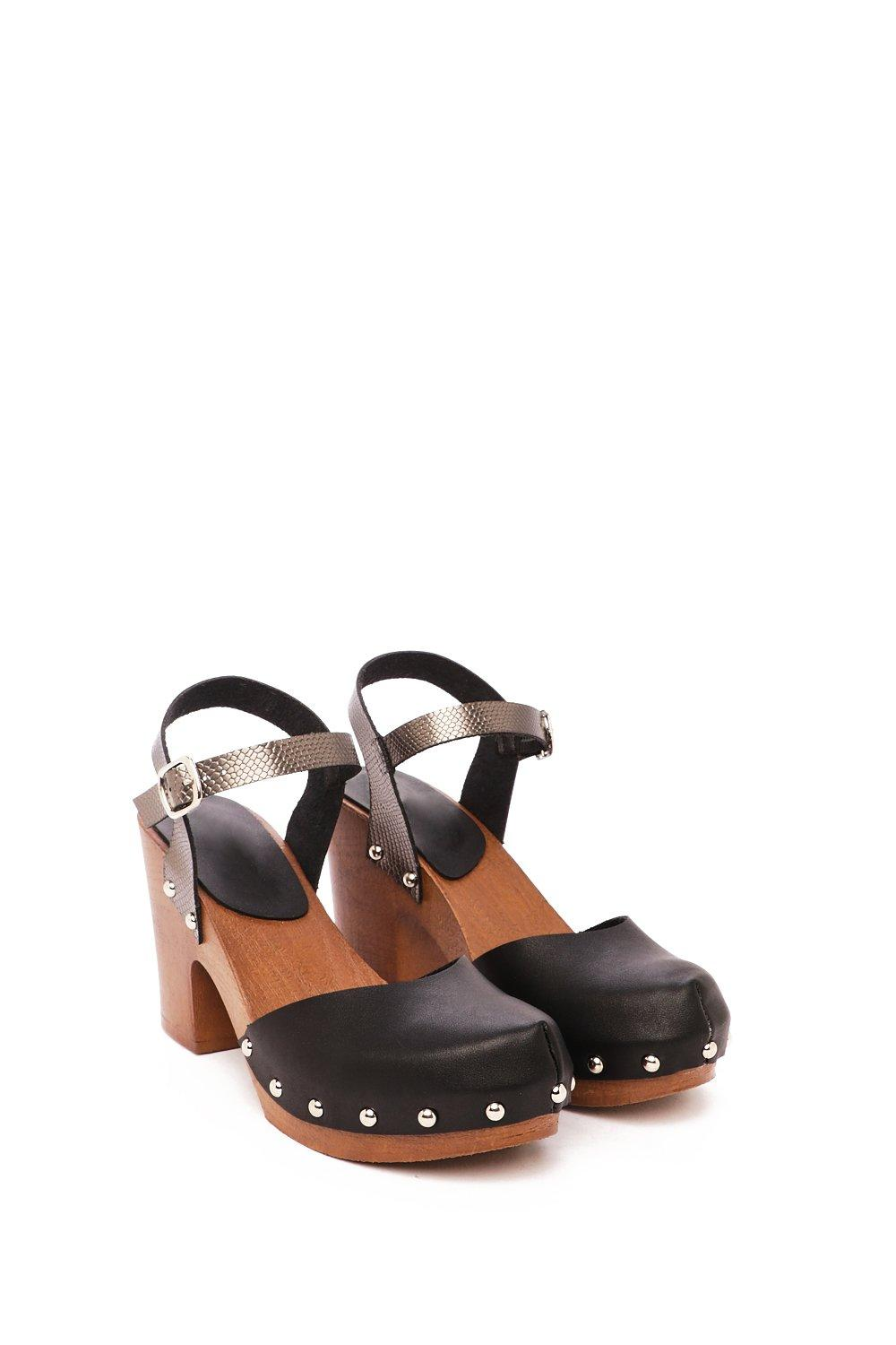 5ced80b684eed9 Wooden If You Tried Faux Leather Clog