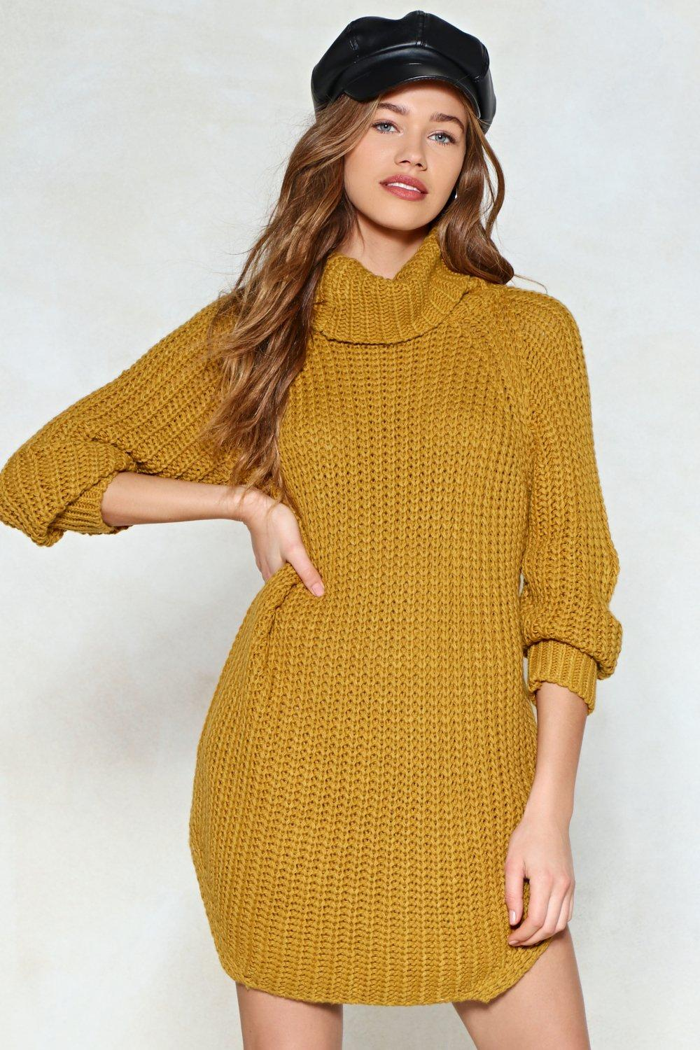 defb5ff4fe3 Womens Mustard Curve Appeal Sweater Dress