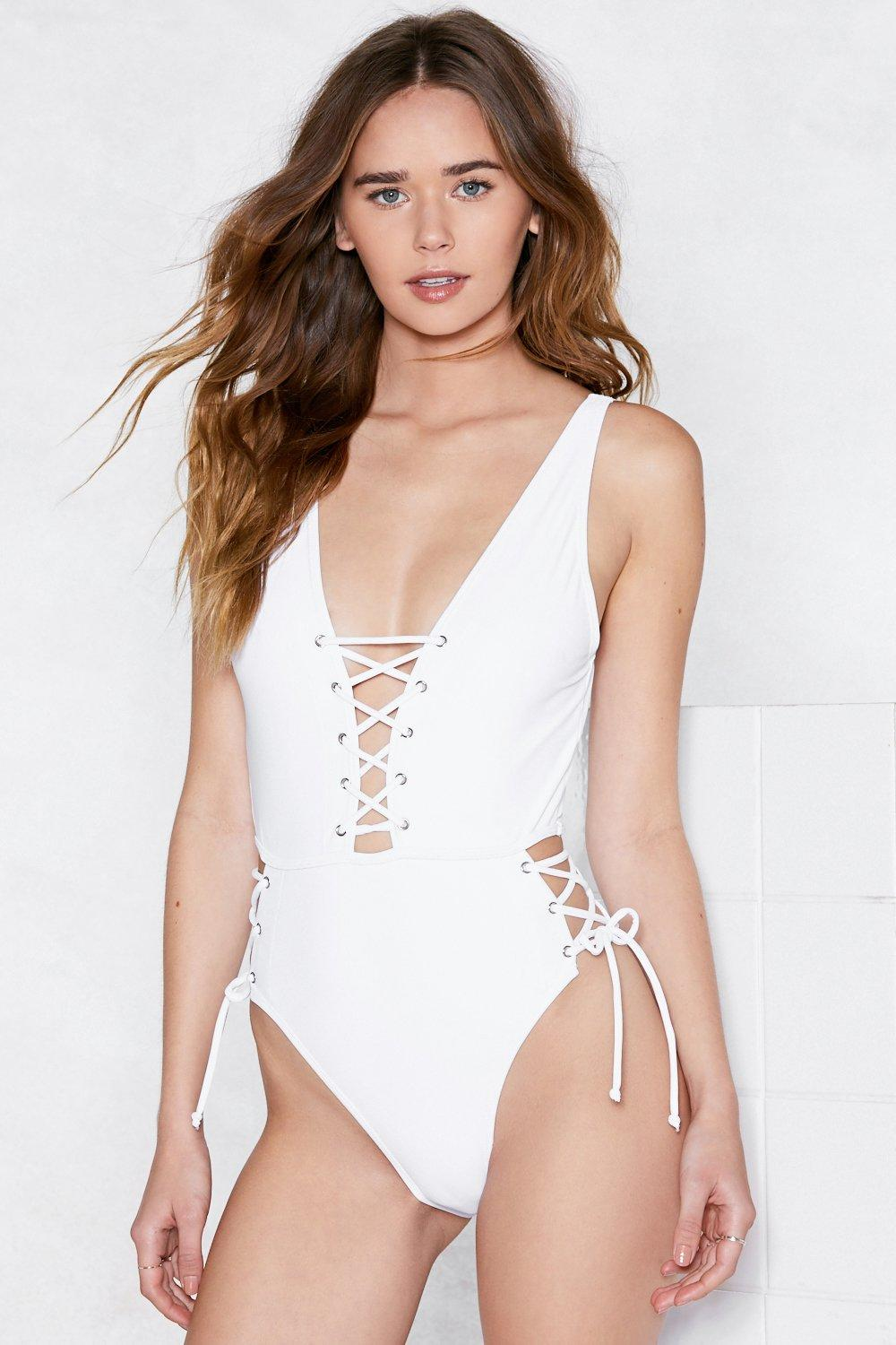 bd83f3ca73a Tie As I May Lace-Up Swimsuit | Shop Clothes at Nasty Gal!