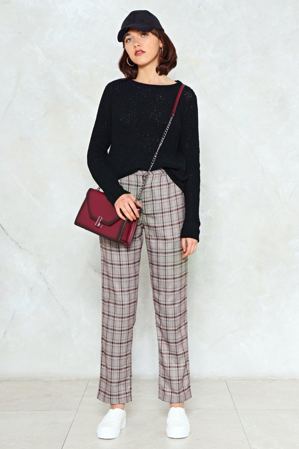 47121e453d80 Are You Sure About That Checkered High-Waisted Pant
