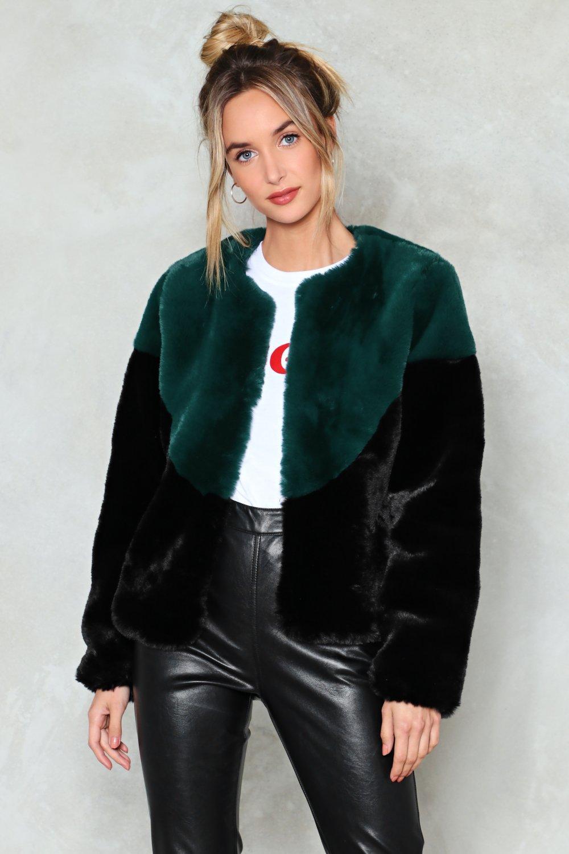 green faux fur jacket