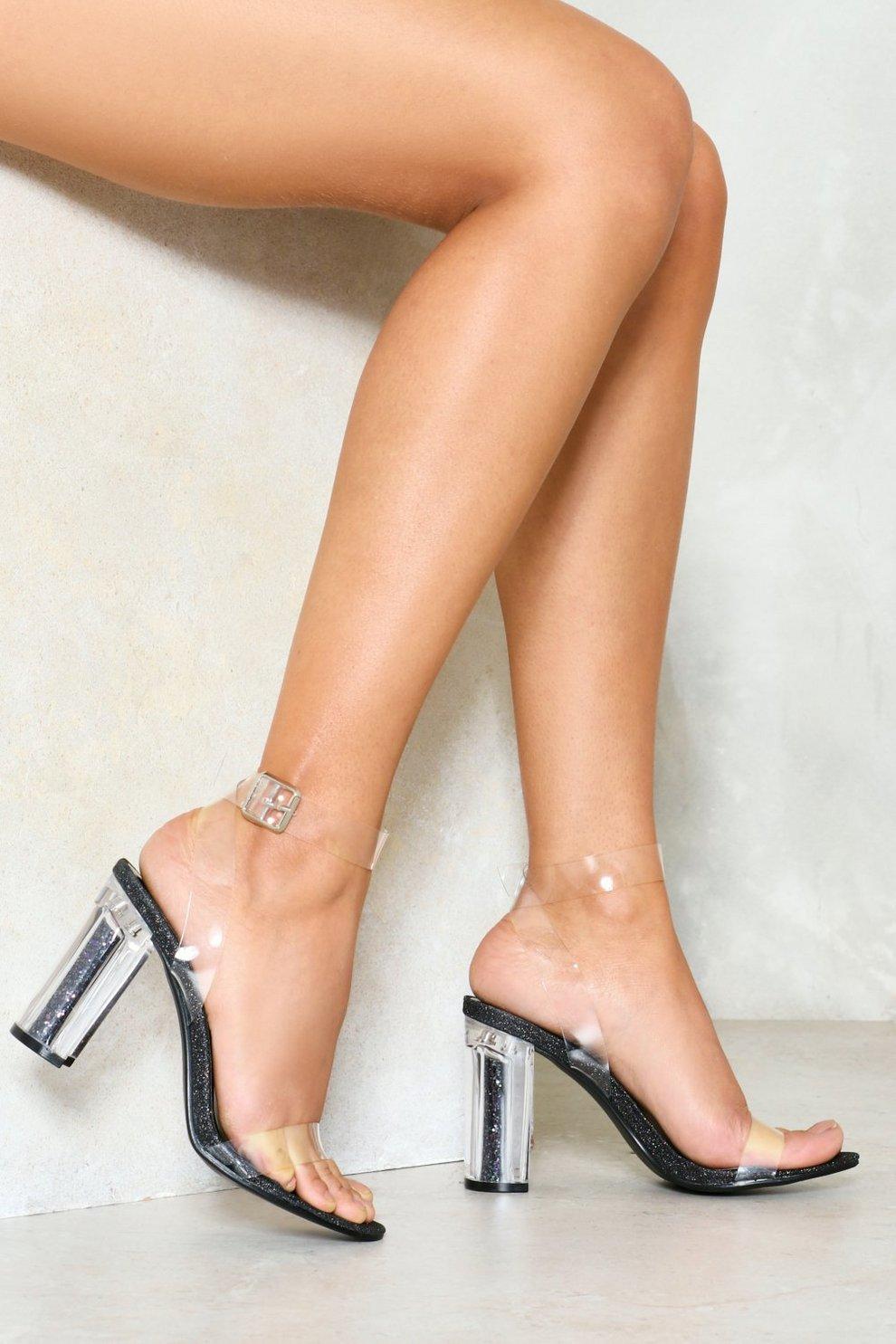 2415ec51e5 Open Toe Anything Glitter Clear Heel
