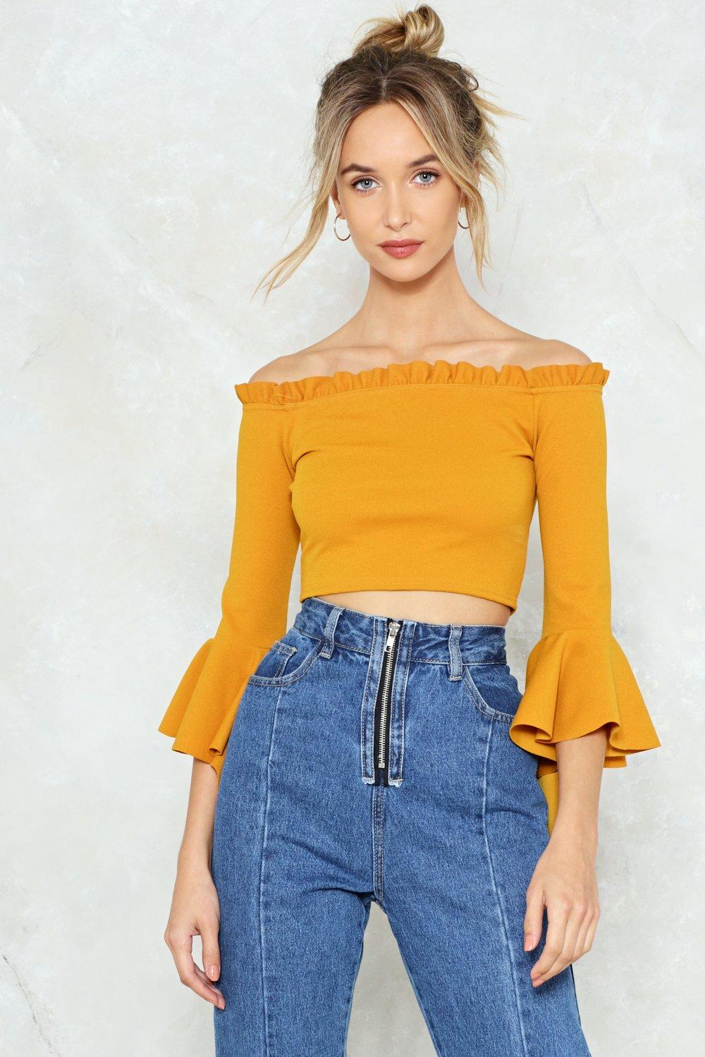 03d63ccc9368b4 Low Profile Off-the-Shoulder Crop Top. Hover to zoom