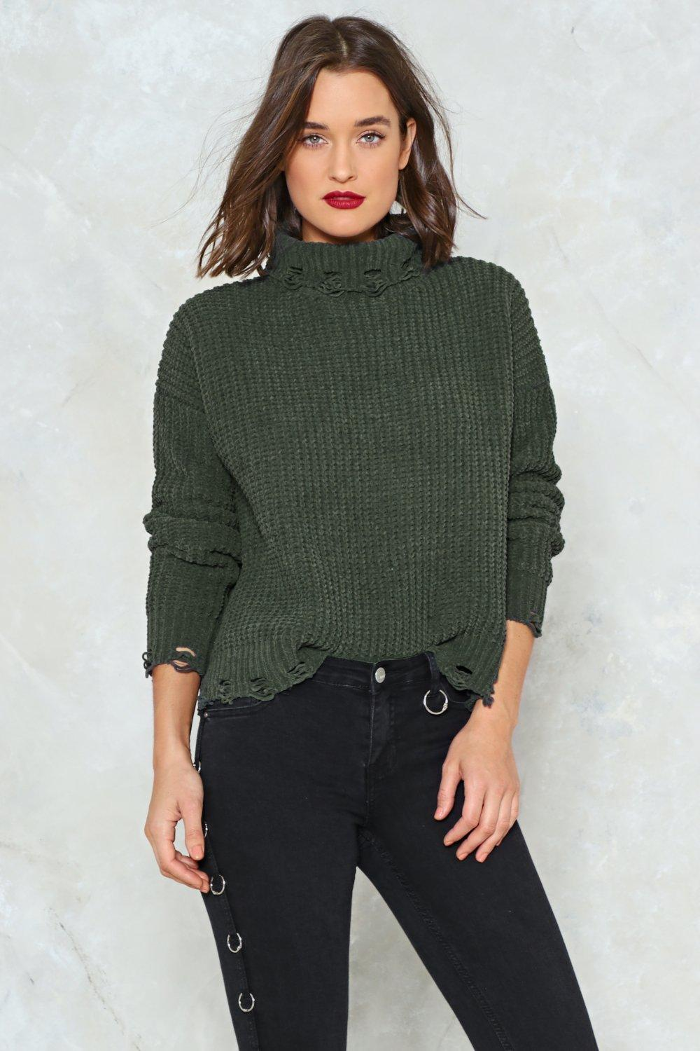 76c265044 Hover to zoom · Womens Green Knit s Worth a Try Chenille Sweater