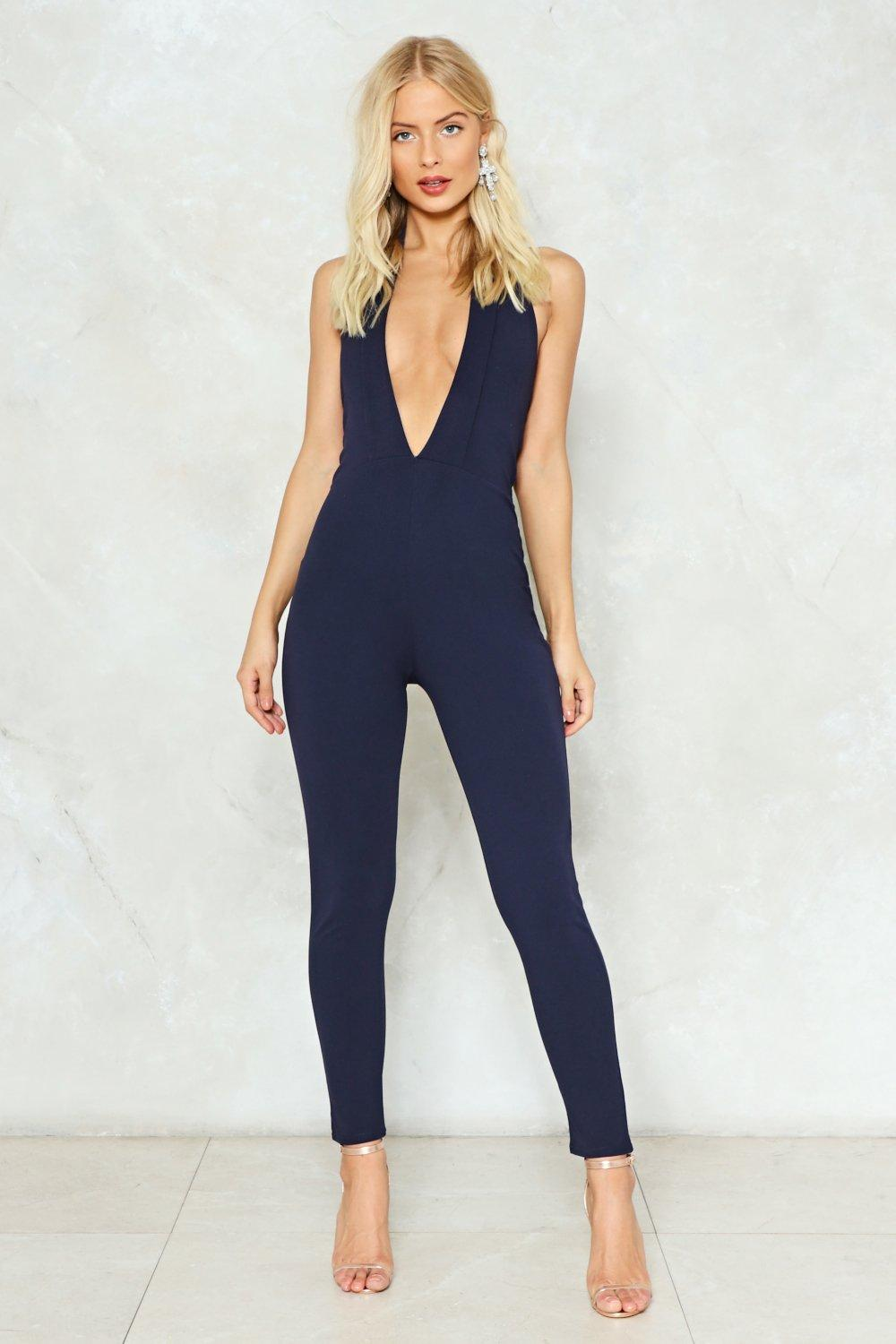 d525cf21f57b2 Plunge Straight in Halter Jumpsuit. Hover to zoom