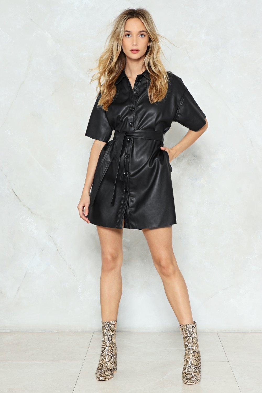 Button Down for Whatever Faux Leather Dress  7c13f2532