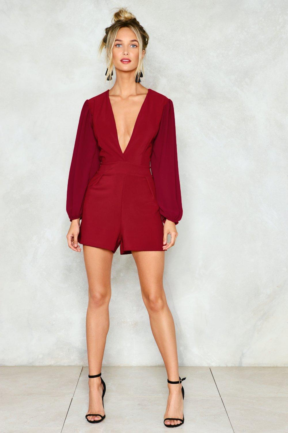 d33fe2be44a Womens Berry Deep Up the Good Work Plunging Romper.
