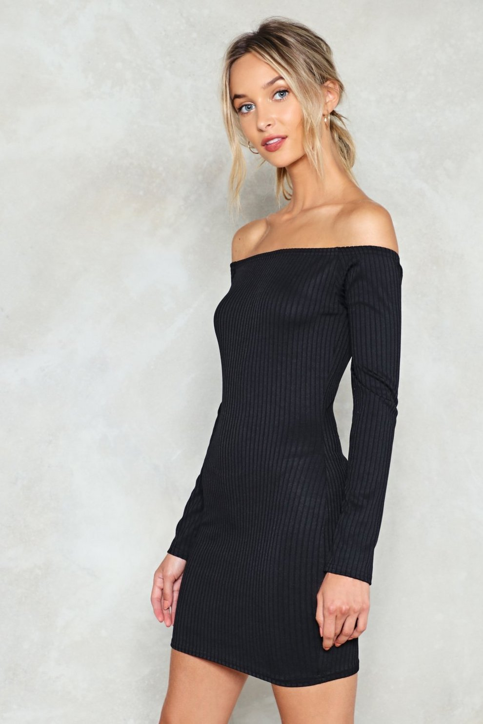 291eafc025 On and Off Ribbed Off-the-Shoulder Dress
