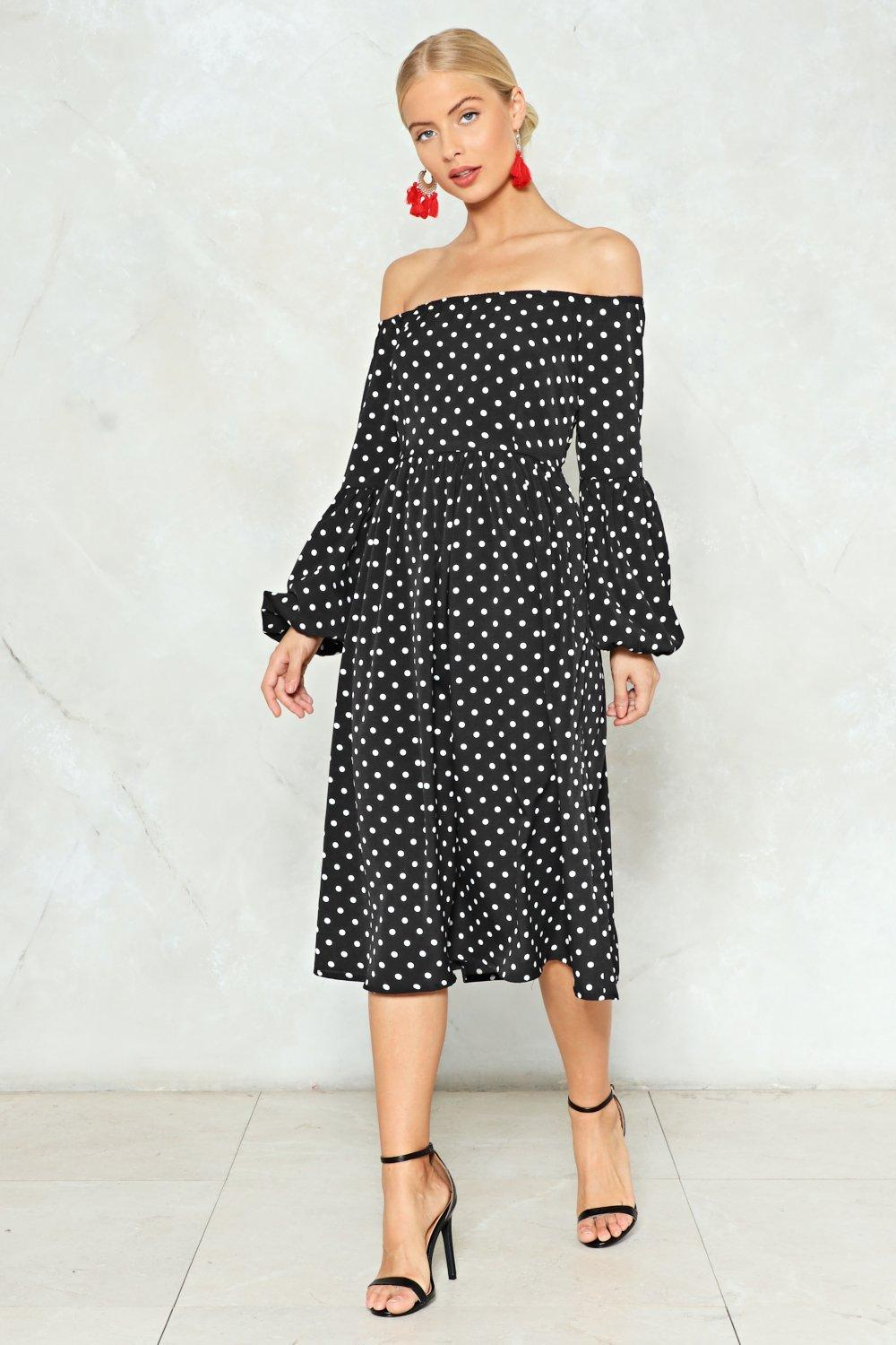 6b5f2d3f001 Womens Black Swing in Our Direction Polka Dot Dress