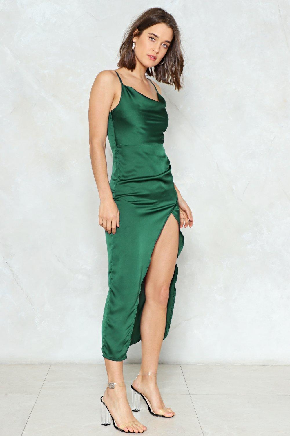 47f5f0c32463 Womens Dark green Cowl Play Satin Dress. Hover to zoom