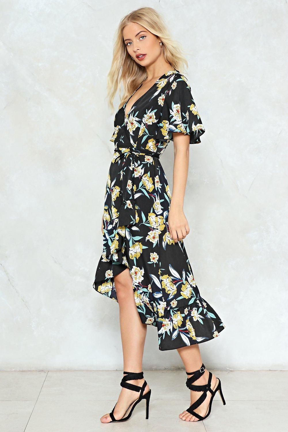 21325218ef4c We Just Grow Together Floral Wrap Dress