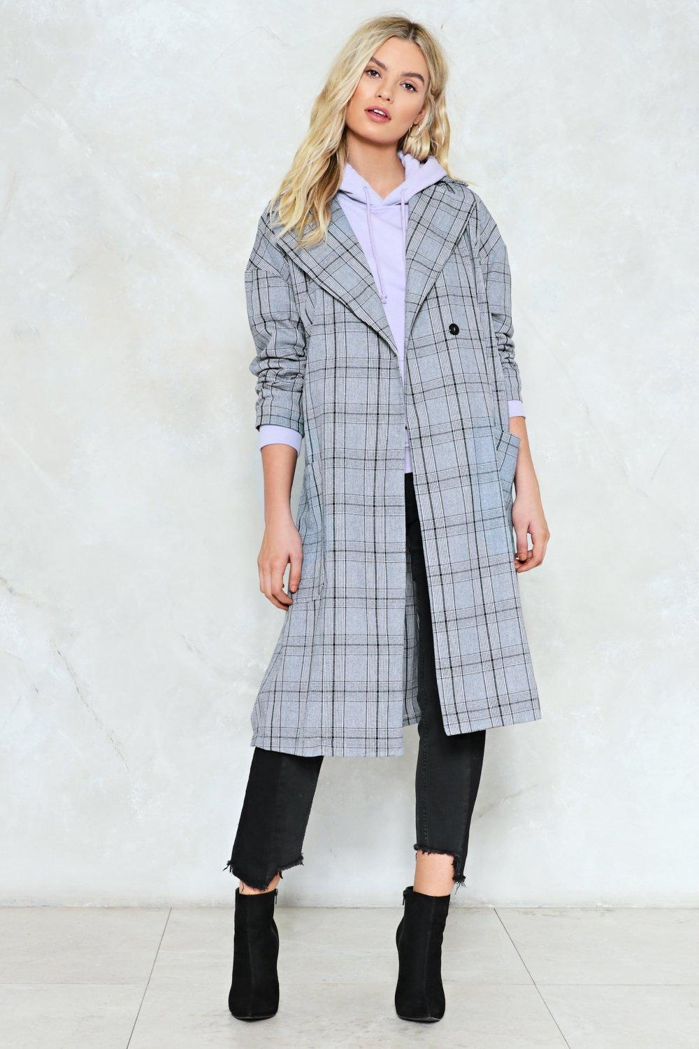 aee28c5f9075 Check Marks the Spot Longline Coat   Shop Clothes at Nasty Gal!