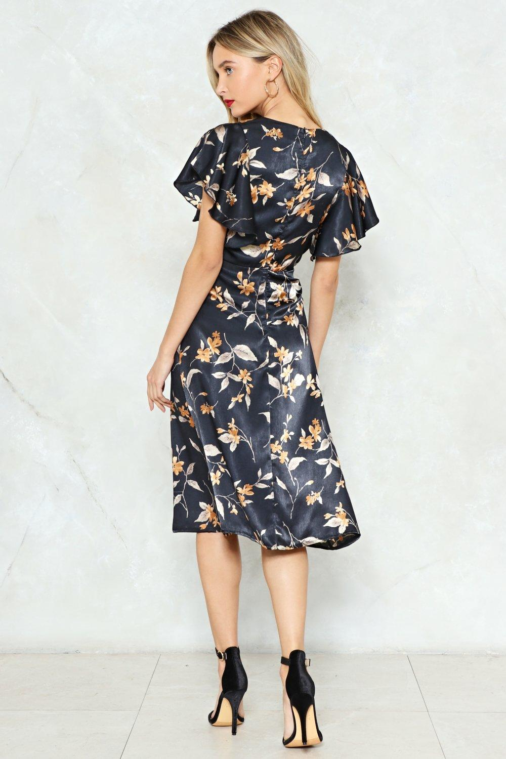 1f39c9e711f Womens Black Hey There Bud Floral Midi Dress. Hover to zoom