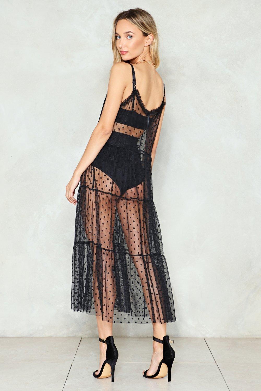 fc898875660 Womens Black Hot Spot Mesh Maxi Dress.
