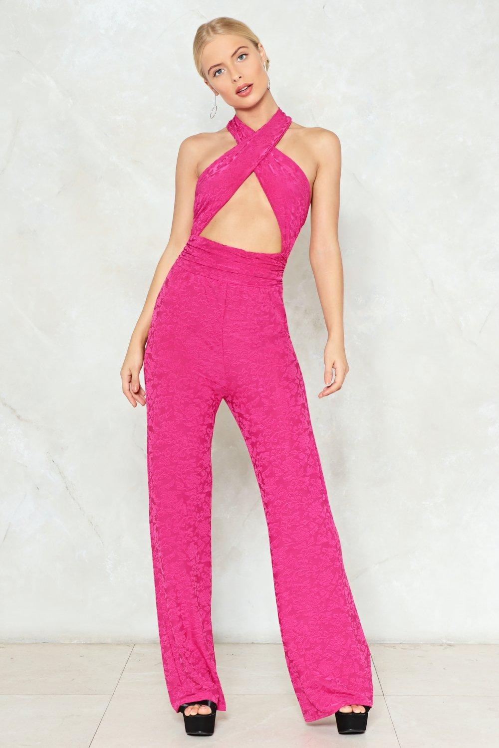 5e0437db718 In the Wrap of Luxury Jacquard Jumpsuit