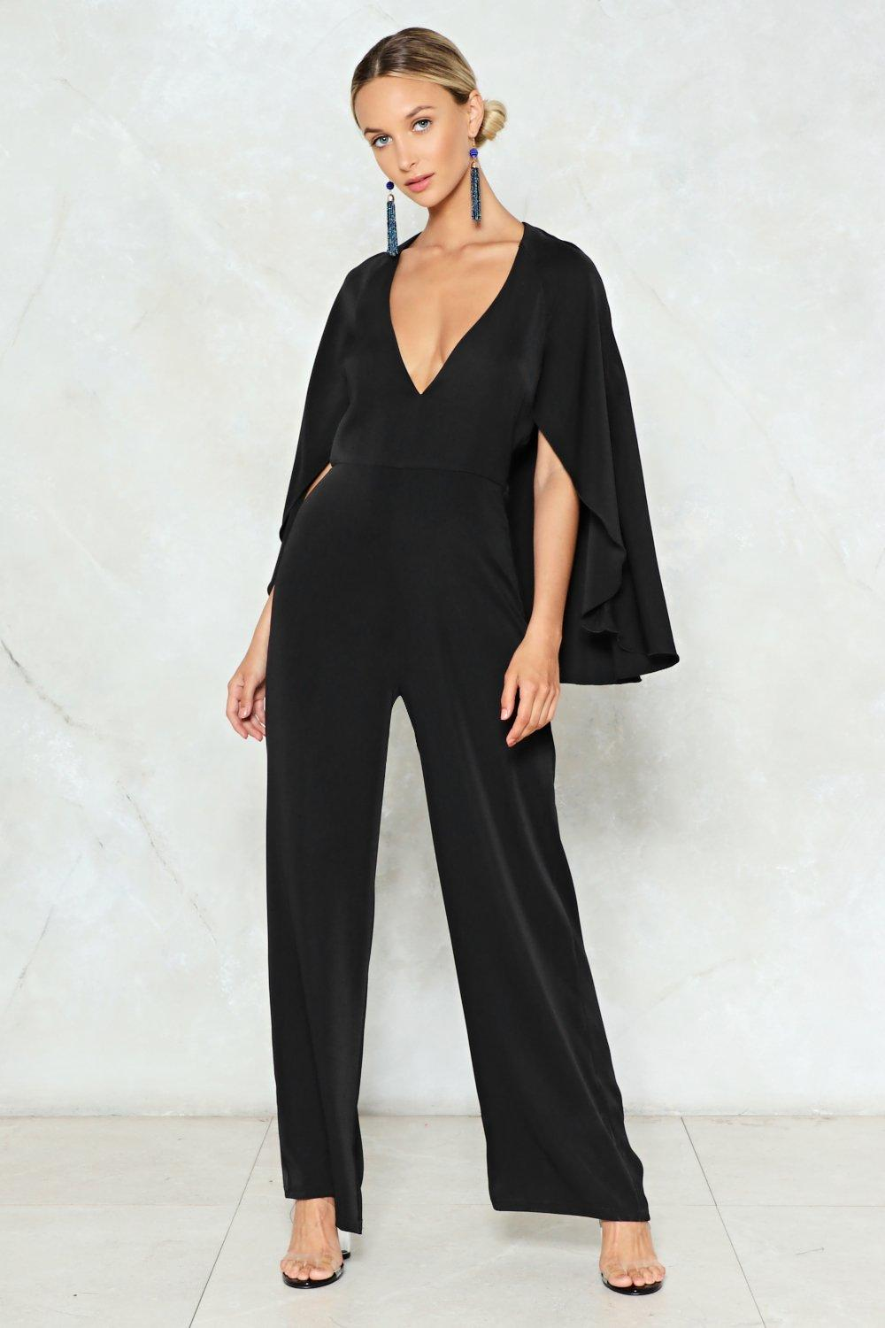 Cape Up The Good Work Plunging Jumpsuit Shop Clothes At Nasty Gal