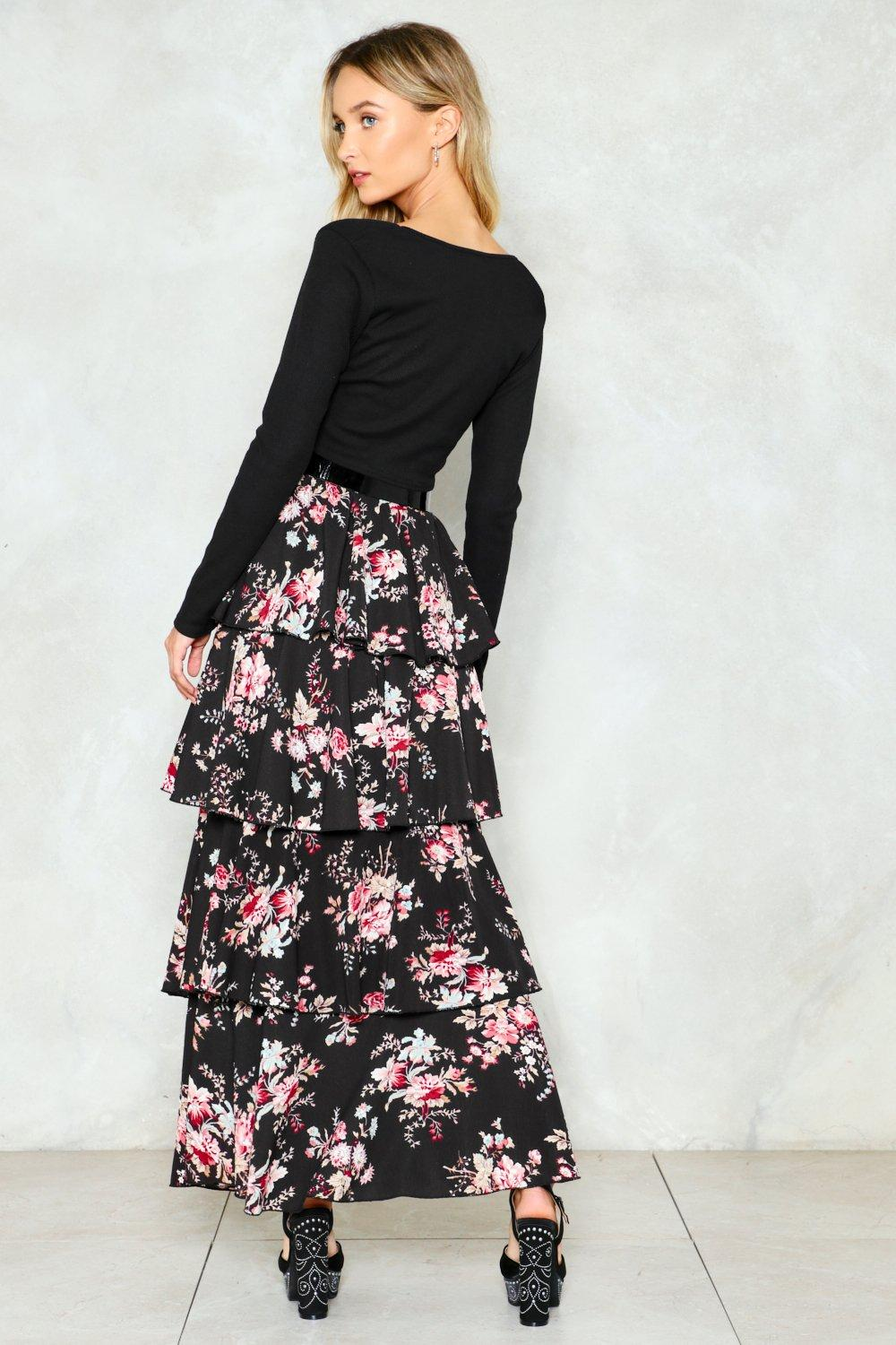 49cdfeb5294 Womens Black Let the Tiers Fall Floral Maxi Skirt