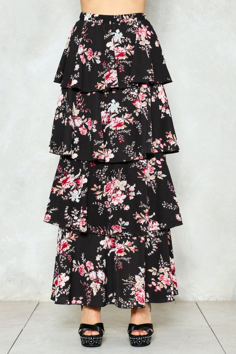 326e7a3e976 Womens Black Let the Tiers Fall Floral Maxi Skirt.