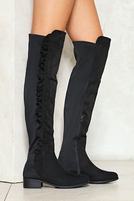 5be901cc2423 Womens Black Take No Chances Ruffle Knee-High Boot