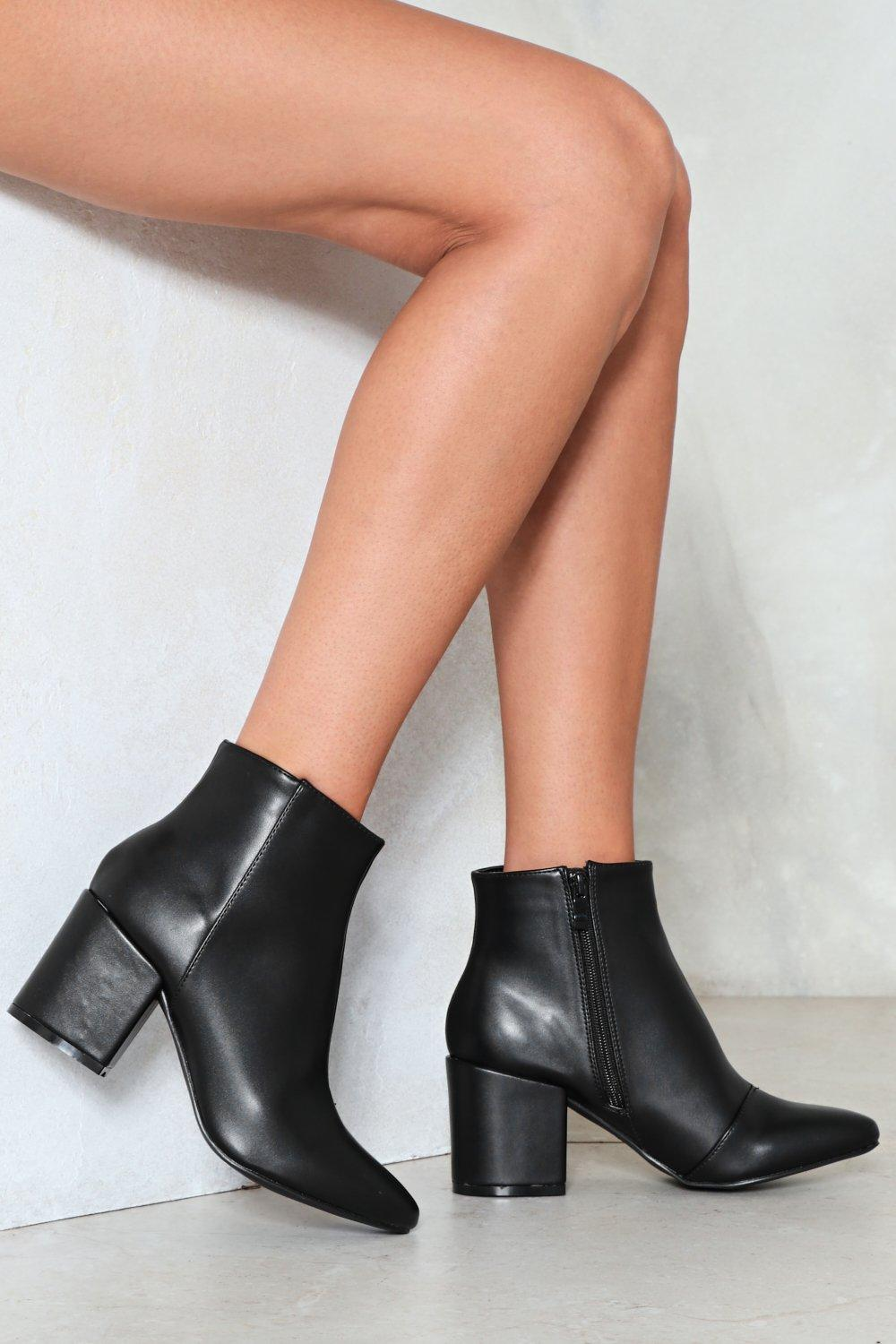 c1957580fb32 Womens Black Simple Faux Leather Ankle Bootie