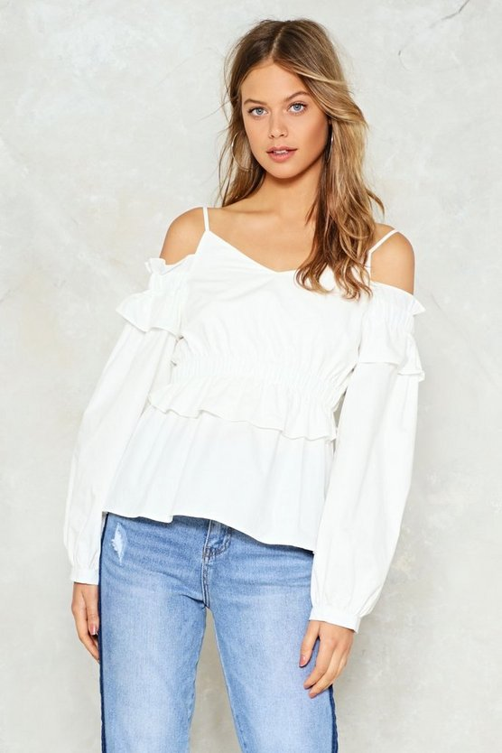 Down For It Cold Shoulder Top by Nasty Gal