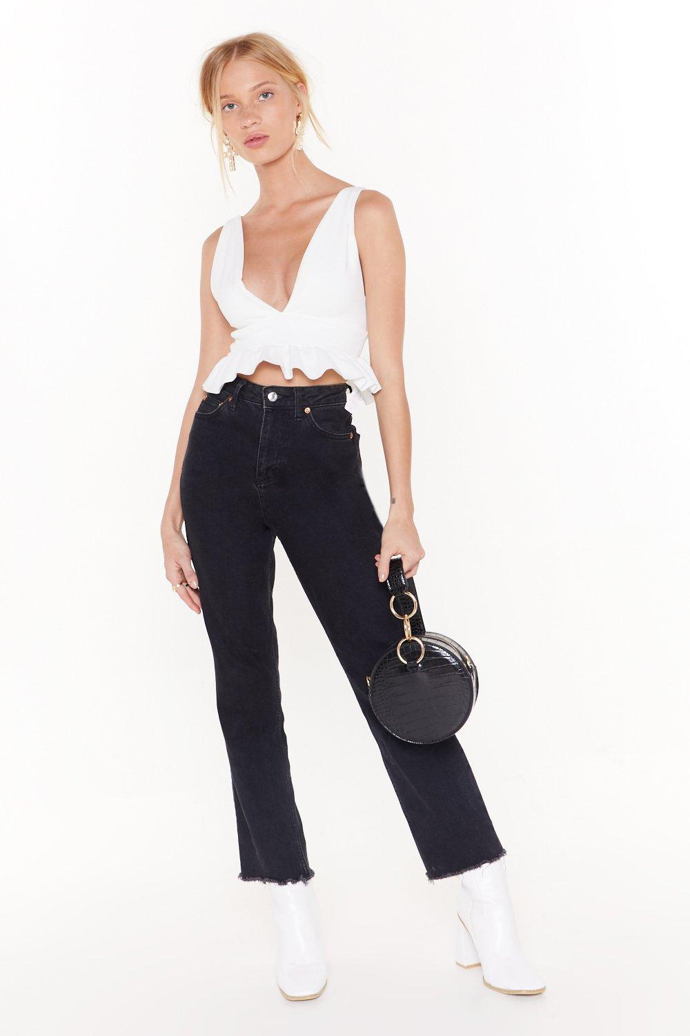 deep down plunging crop top shop clothes at nasty gal