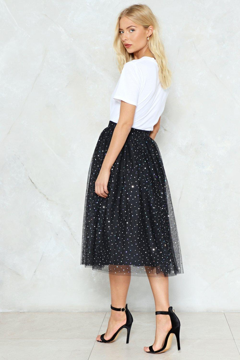 13e4ec0256d8 Hover to zoom · Womens Black Rise and Sparkle Sequin Tulle Skirt