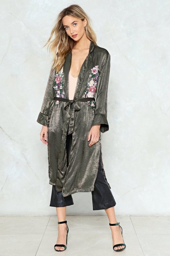 Keep It Growing Satin Duster Jacket by Nasty Gal