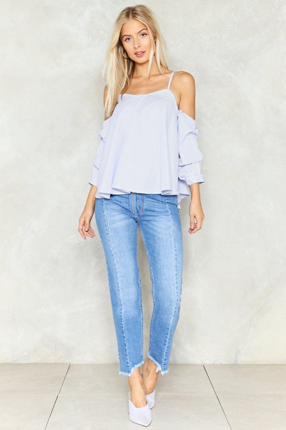 3dc515d0e9f81 So Hot and Cold Shoulder Top. Hover to zoom