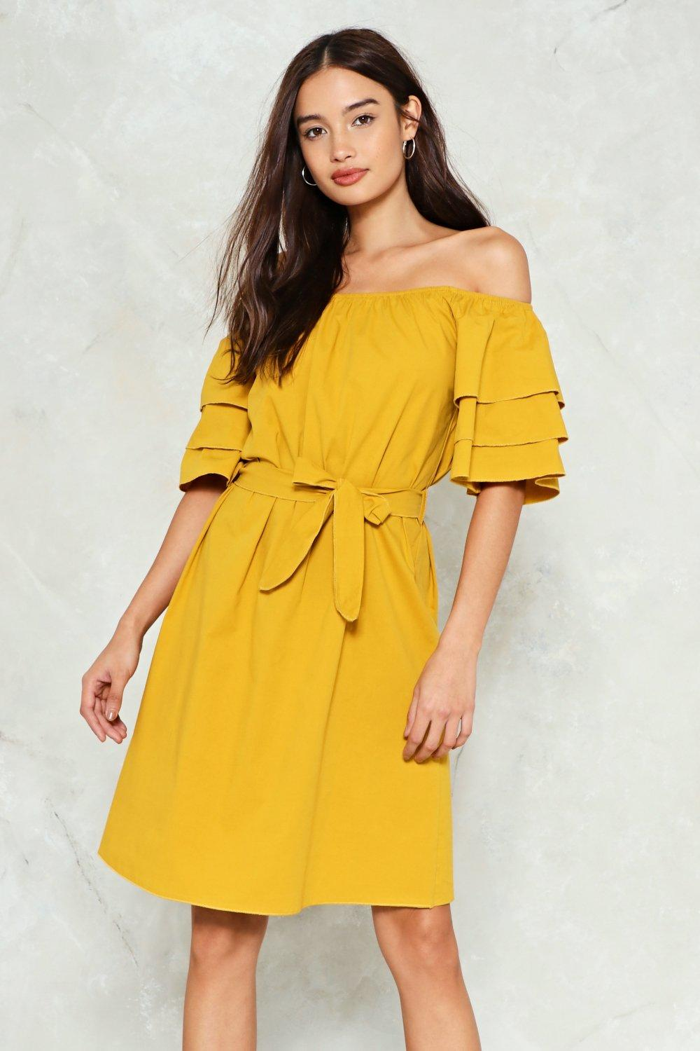 586ca9df5021 The Tier and Now Off-the-Shoulder Dress
