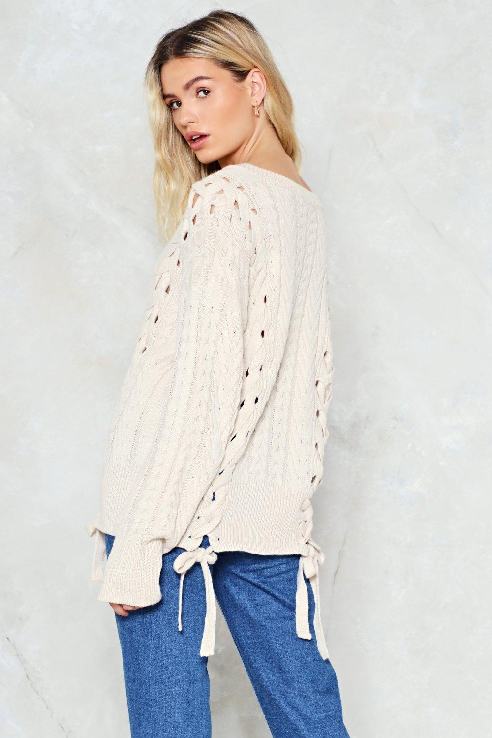 f0d66c17236 Womens Beige Knit a Chance Lace-Up Sweater