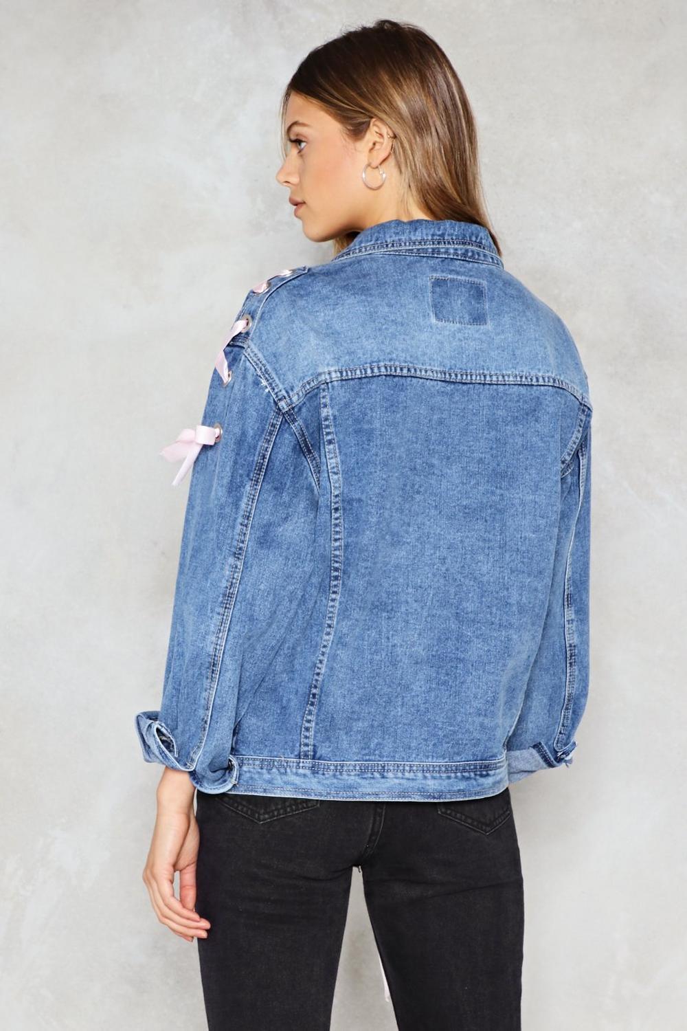 89549286cdb Womens Blue Tighten the Reins Lace-Up Denim Jacket