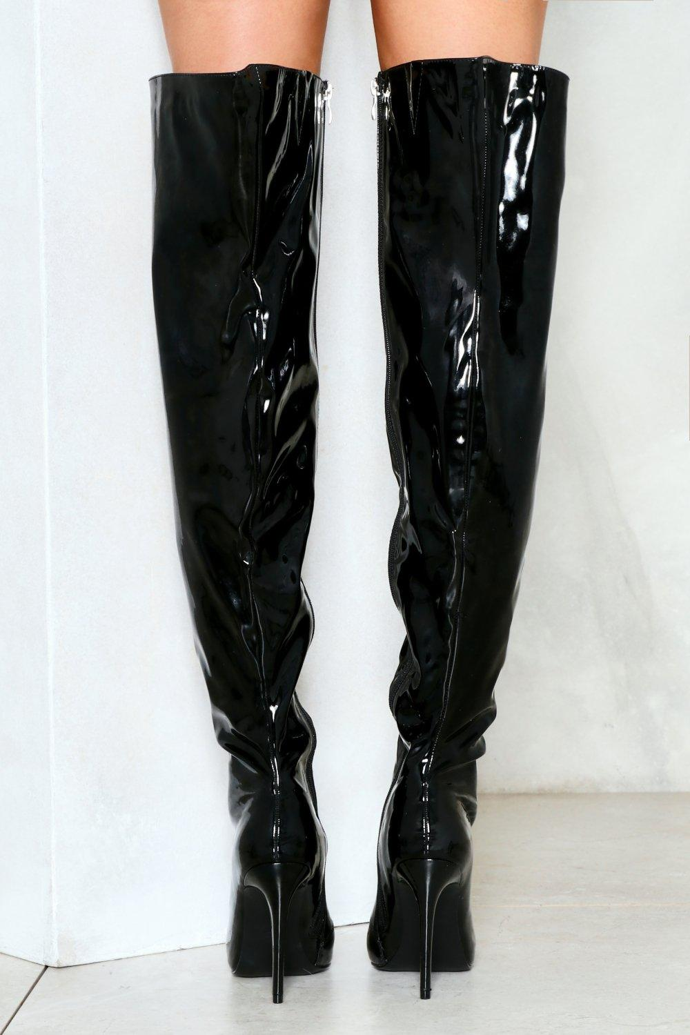 139cfb4eb7b0 Slippery When Wet Patent Thigh-High Boot | Shop Clothes at Nasty Gal!