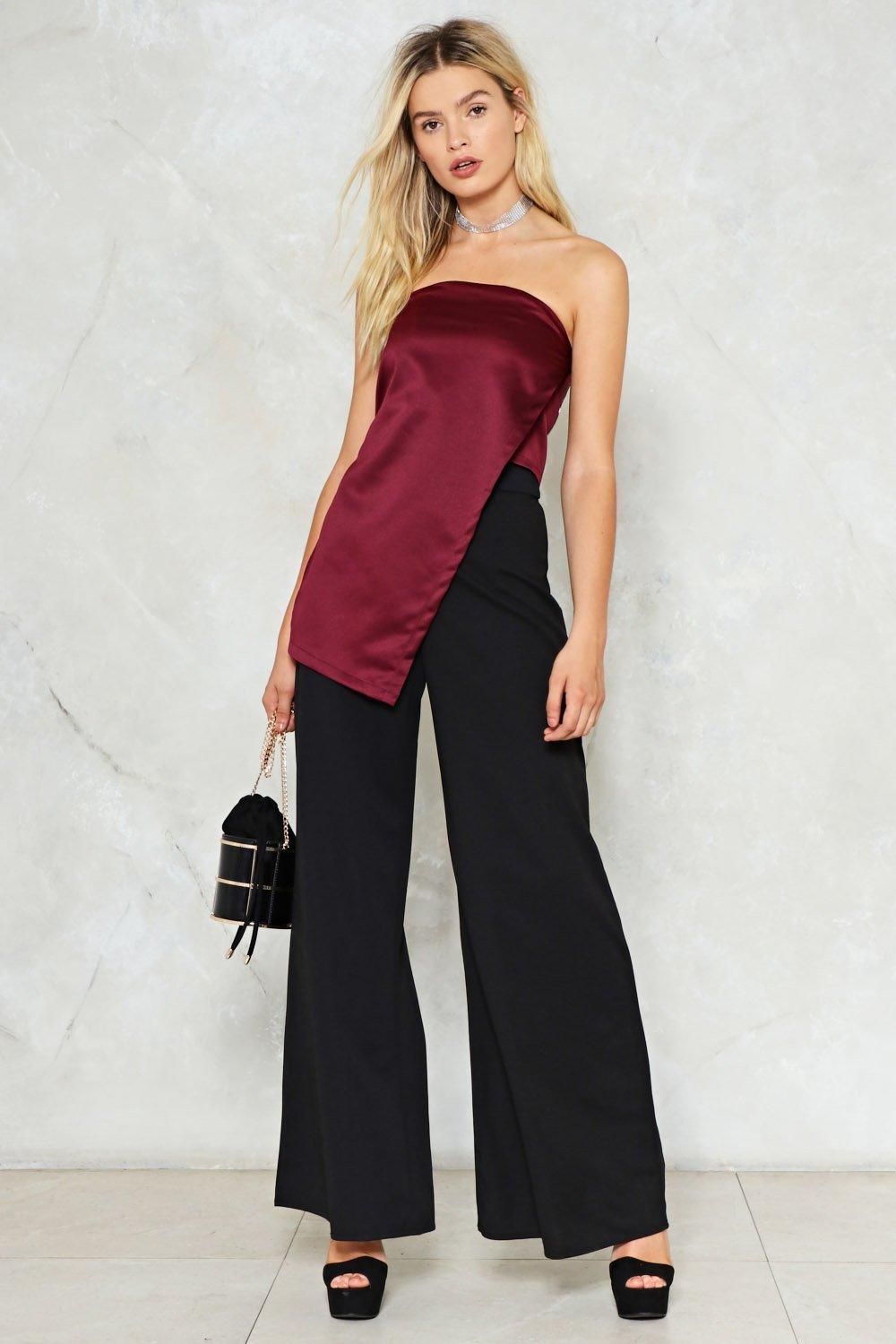 7a823226f0 On a Side Note Satin Top. Hover to zoom