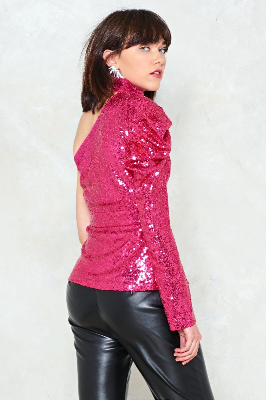 871386cb3deca Plus-One Shoulder Sequin Top