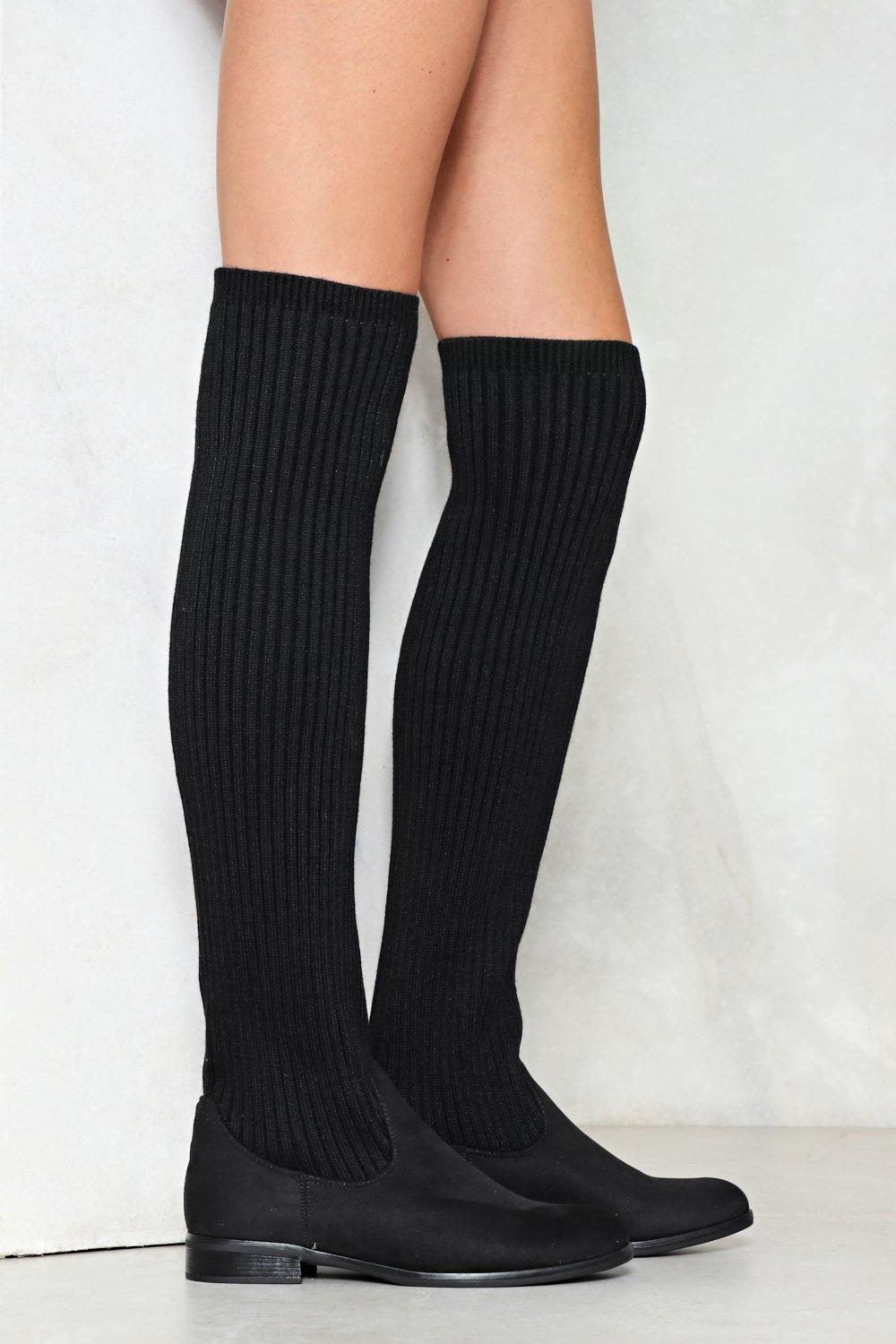 0b96efe973a6 Womens Black Come Closer Knit Knee-High Boot. Hover to zoom