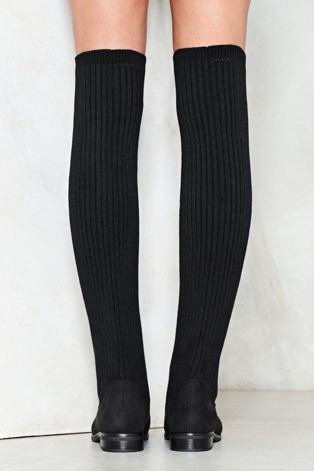 317e373f3 Womens Black Come Closer Knit Knee-High Boot. Hover to zoom